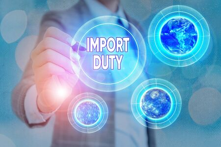 Word writing text Import Duty. Business photo showcasing tax imposed by a government on goods from other countries Archivio Fotografico