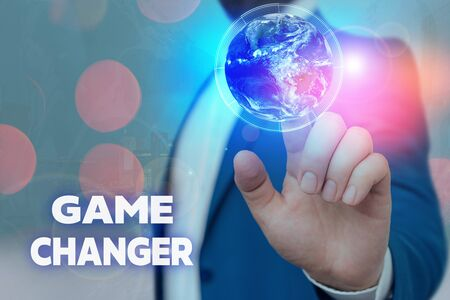 Text sign showing Game Changer. Business photo showcasing way that effects a major shift in the current manner of doing