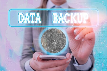 Text sign showing Data Backup. Business photo text copy of important data that is stored on an alternative location