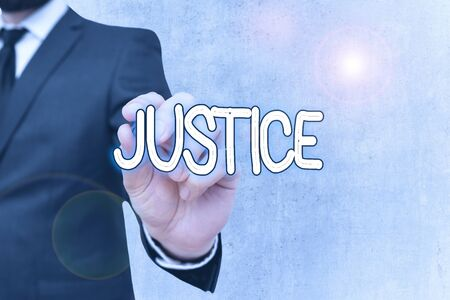 Writing note showing Justice. Business concept for impartial adjustment of conflicting claims or assignments
