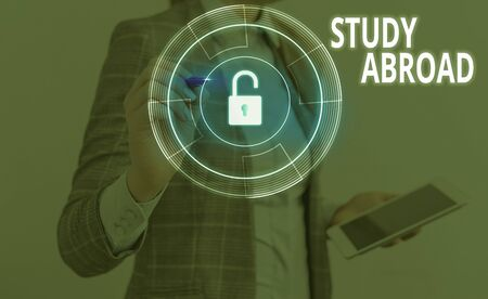 Text sign showing Study Abroad. Business photo text live in a foreign country and attend a foreign university