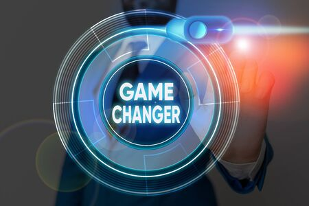 Writing note showing Game Changer. Business concept for way that effects a major shift in the current manner of doing Stock Photo