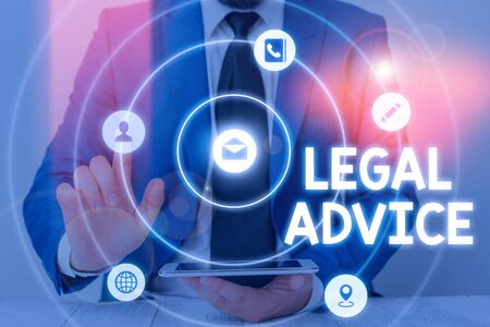 Word writing text Legal Advice. Business photo showcasing giving of a formal opinion regarding the procedure of the law 版權商用圖片