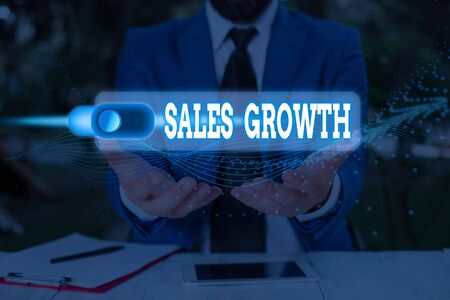 Handwriting text Sales Growth. Conceptual photo ability to increase revenue over a fixed period of time