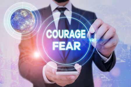 Handwriting text Courage Fear. Conceptual photo quality of mind that enables a demonstrating to face difficulty