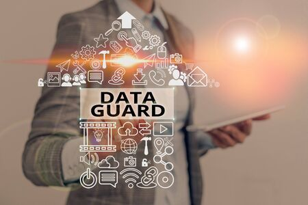 Text sign showing Data Guard. Business photo text manage databases to survive disasters and data corruptions