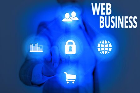 Writing note showing Web Business. Business concept for selling online services or products Doing online business