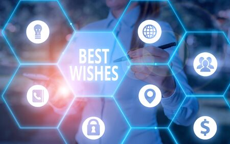 Word writing text Best Wishes. Business photo showcasing an expression of hope for someone s is future happiness or welfare