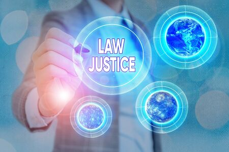 Word writing text Law Justice. Business photo showcasing a scheme or system of law in which every demonstrating receives Banque d'images