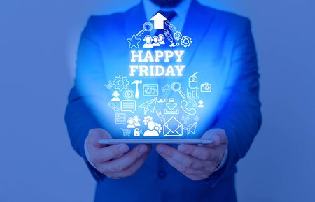 Text sign showing Happy Friday. Business photo showcasing Greetings on Fridays because it is the end of the work week