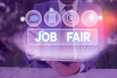 Word writing text Job Fair. Business photo showcasing event in which employers recruiters give information to employees