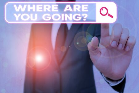 Writing note showing Where Are You Goingquestion. Business concept for used to ask someone the destination headed to Stockfoto