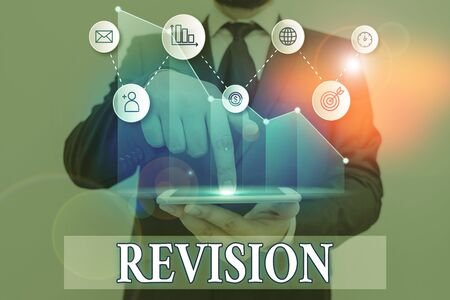 Word writing text Revision. Business photo showcasing action of revising over someone like auditing or accounting