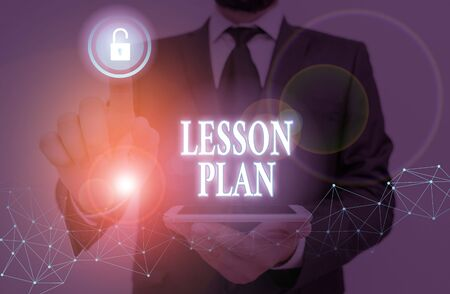 Word writing text Lesson Plan. Business photo showcasing a teacher s is detailed description of the course of instruction