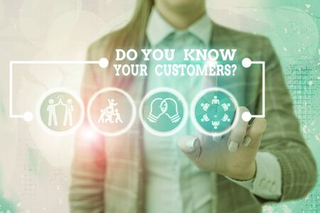 Writing note showing Do You Know Your Customers question. Business concept for asking to identify a customers is nature Stock fotó