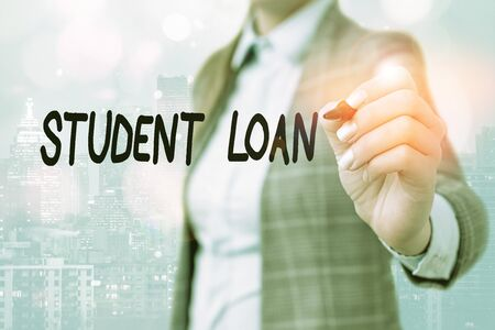 Word writing text Student Loan. Business photo showcasing financial assistance designed to help students pay for school