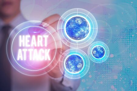 Word writing text Heart Attack. Business photo showcasing sudden occurrence of coronary thrombosis resulting in death 版權商用圖片