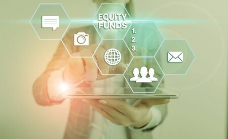 Handwriting text Equity Funds. Conceptual photo type of mutual fund that buys ownership in businesses Imagens