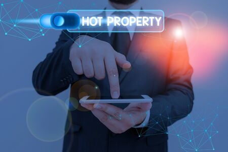 Writing note showing Hot Property. Business concept for one that many showing want to buy and it is highly desirable