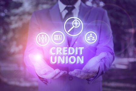 Word writing text Credit Union. Business photo showcasing cooperative association that makes small loans to members