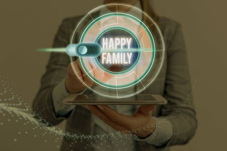 Conceptual hand writing showing Happy Family. Concept meaning family members staying together spending quality time Imagens