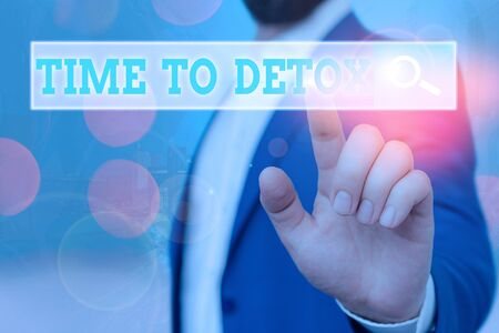 Text sign showing Time To Detox. Business photo showcasing when you purify your body of toxins or stop consuming drug