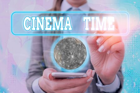 Text sign showing Cinema Time. Business photo text which entertainment such showing movie scheduled to start 写真素材