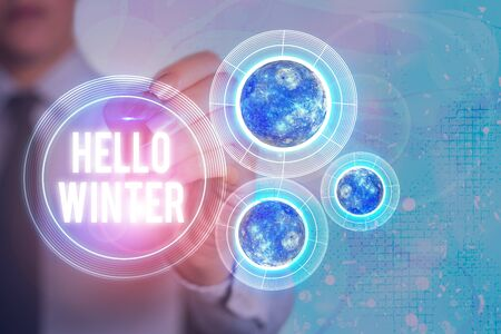Word writing text Hello Winter. Business photo showcasing coldest season of the year in polar and temperate zones