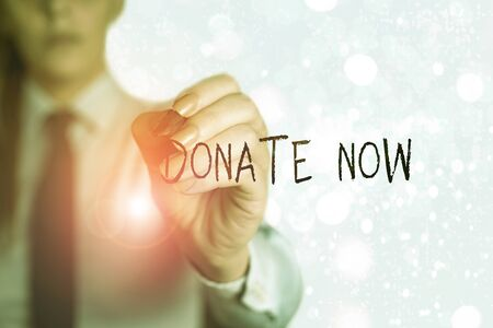 Word writing text Donate Now. Business photo showcasing to give something like money or goods to a charity or any cause