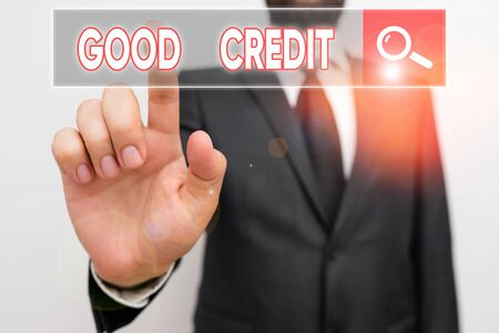 Text sign showing Good Credit. Business photo showcasing borrower has a relatively high credit score and safe credit risk