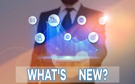 Word writing text Whats New Question. Business photo showcasing when you ask someone about his current live events actions Imagens