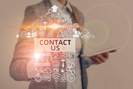 Text sign showing Contact Us. Business photo text Term used to describe reaching out with the business or demonstrating