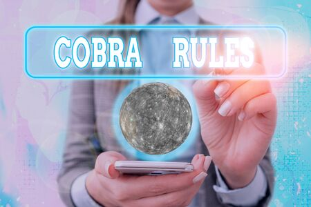 Text sign showing Cobra Rules. Business photo text continuing group health insurance coverage after a job loss