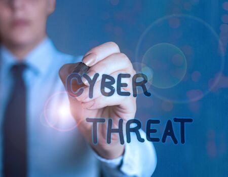Word writing text Cyber Threat. Business photo showcasing has a potential to cause serious harm to a computer system