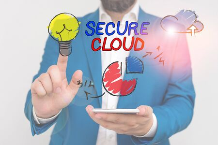 Word writing text Secure Cloud. Business photo showcasing Protect the stored information safe Controlled technology 写真素材