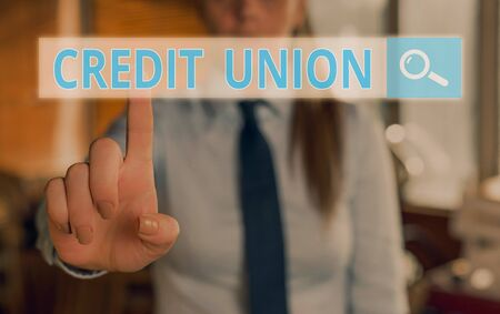 Conceptual hand writing showing Credit Union. Concept meaning cooperative association that makes small loans to members