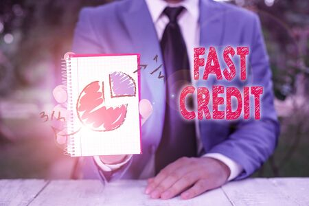 Handwriting text writing Fast Credit. Conceptual photo Apply for a fast demonstratingal loan that lets you skip the hassles 写真素材