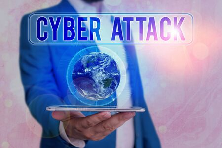 Text sign showing Cyber Attack. Business photo showcasing attempt by hackers to damage or destroy a computer network
