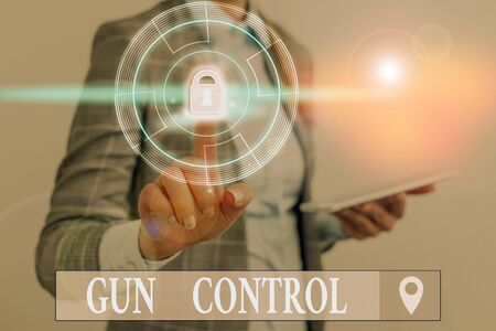 Word writing text Gun Control. Business photo showcasing legal measure intended to restrict the possession of guns