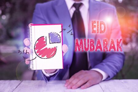 Handwriting text writing Eid Mubarak. Conceptual photo traditional Muslim greeting reserved for the holy festivals