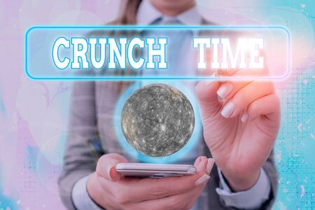 Text sign showing Crunch Time. Business photo text period when pressure to succeed is great often undertaking end Фото со стока