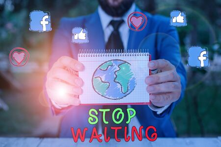 Word writing text Stop Waiting. Business photo showcasing do not stay in the same place doing nothing Move forward Stok Fotoğraf