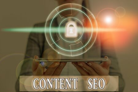 Word writing text Content Seo. Business photo showcasing creating webpage content to rank high in the search engines