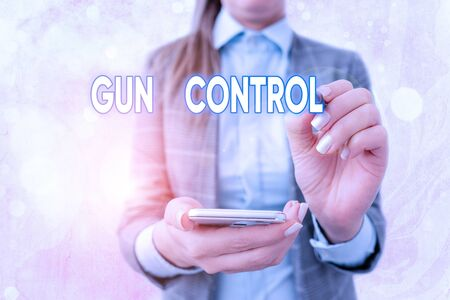 Text sign showing Gun Control. Business photo text legal measure intended to restrict the possession of guns 免版税图像