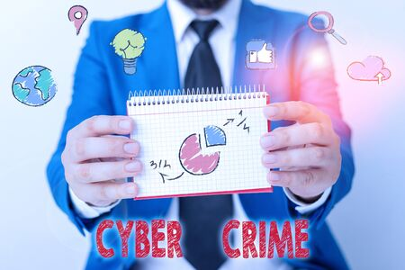 Word writing text Cyber Crime. Business photo showcasing kind of criminal activities carried out by means of Internet