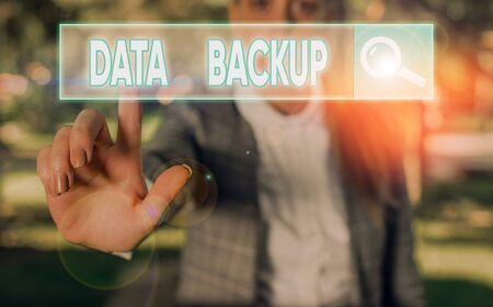 Writing note showing Data Backup. Business concept for copy of important data that is stored on an alternative location Reklamní fotografie