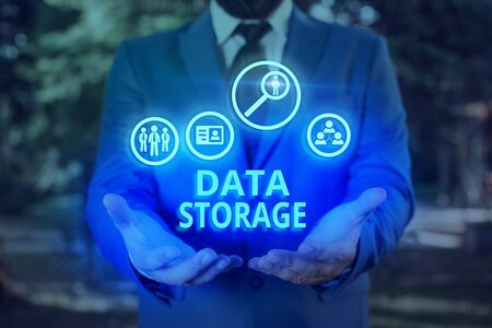 Word writing text Data Storage. Business photo showcasing the act of archiving data in electromagnetic or other forms