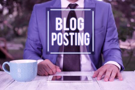 Writing note showing Blog Posting. Business concept for regular record of someone s is thoughts opinions or experiences Businessman with pointing finger in front of him