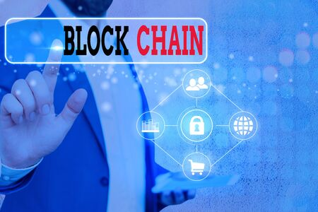 Writing note showing Block Chain. Business concept for system in which a record of transactions made in bitcoin