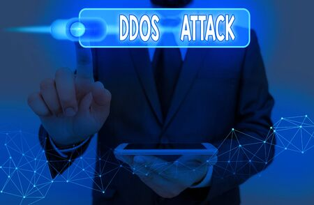 Handwriting text Ddos Attack. Conceptual photo perpetrator seeks to make a network resource unavailable to user